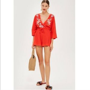 Topshop | Red Embroidered Jersey Romper 10
